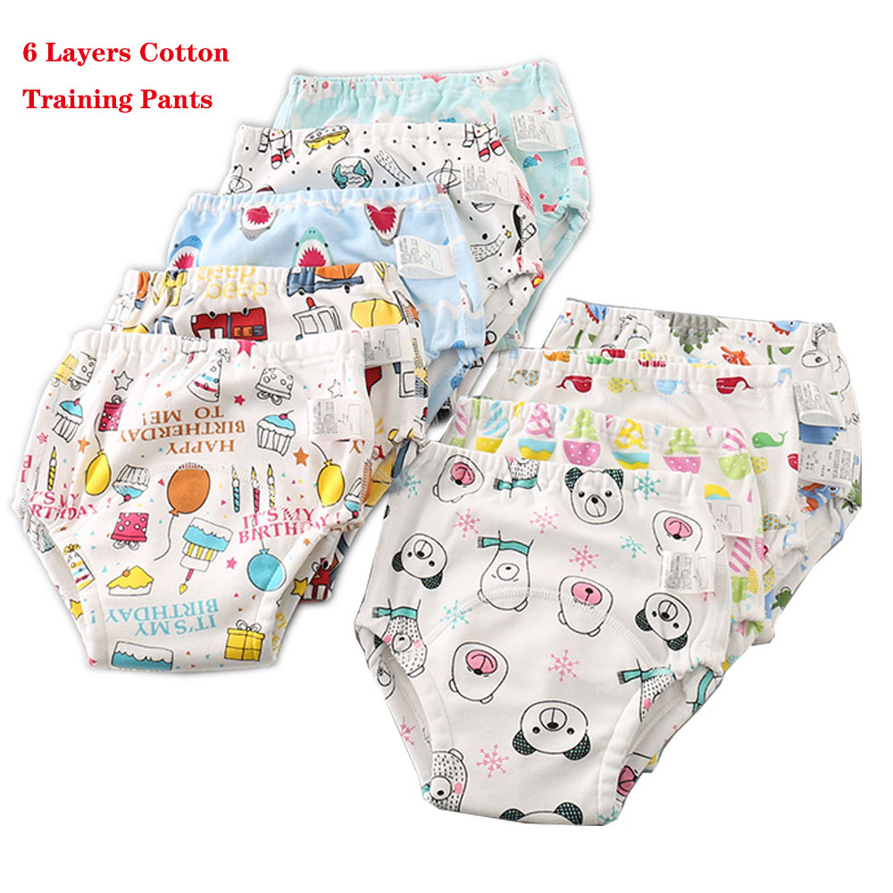 6Layers Baby Training Pants Waterproof Infant Underwear Reusable Cloth Diaper Cover Changing Nappies Cotton Kids Potty Panties