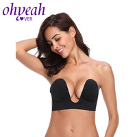 16206e1a3 Ohyeahlover Strapless Self Adhesive Bra Invisible Push Up Bras Stick On  Backless Brassiere Deep U Plunge. Ohyeahlover Strapless Auto Adesivo Sutiã  ...