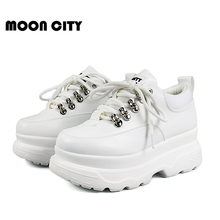 Sneakers Woman 2019 New Spring Fashion Platoform shoes Woman Casual shoes Lace-Up leather White Brand Chunky Sneakers For Women