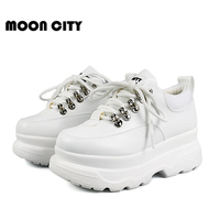 Sneakers Woman 2019 New Spring Fashion platform shoes Woman Casual shoes Lace Up leather White Brand Chunky Sneakers For Women