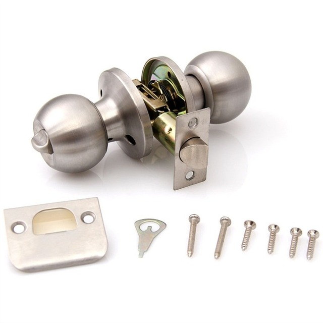 Cheap Brushed Chrome Stainless Steel Privacy Door Knobs Handles Lock Latch 2018 New Hot Selling Drop Shipping