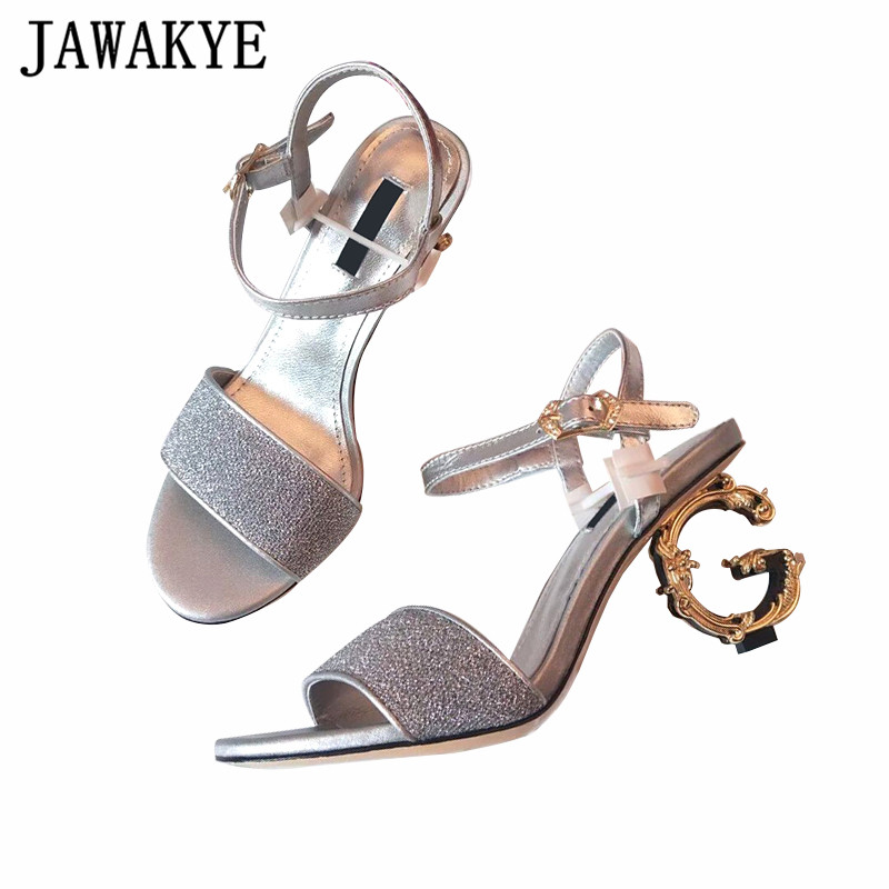 Bling Bling métal sandales à talons hauts femmes paillettes une sangle couverture talon chaussures d'été bout ouvert asymétrique talon gladiateur sandales