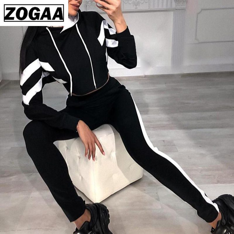 ZOGAA 2019 Ladies Casual Suit Striped Color Matching Sweater Trousers Sets Women Tracksuit Women 2 piece sets womens outfits in Women 39 s Sets from Women 39 s Clothing