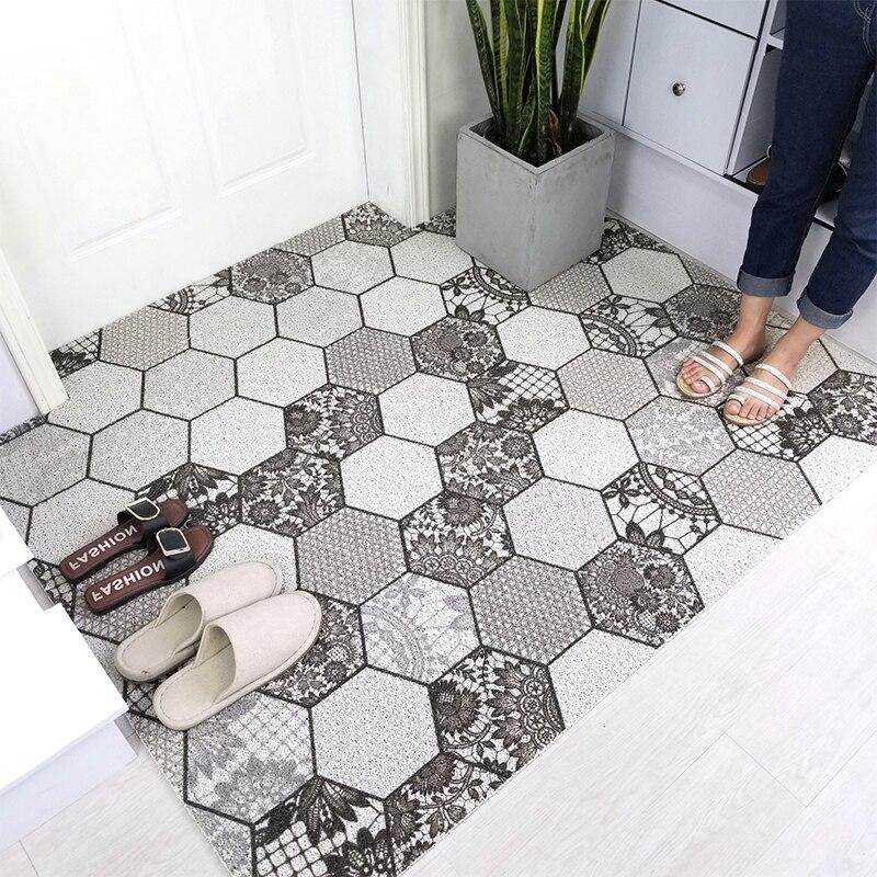 Nordique minimaliste entrée PVC soie boucle tapis de porte entrée frottement poussière tapis cuisine anti-dérapant tapis personnalisé forme irrégulière tapis