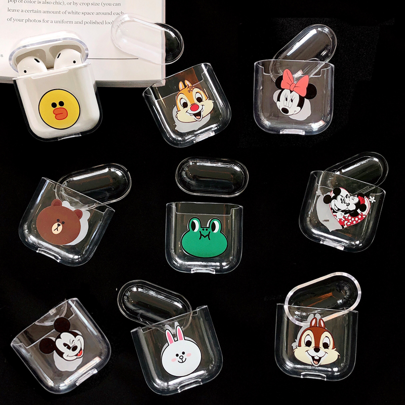 Cute Cartoon Mickey Minnie Clear Hard Case for Apple Airpods 1/2 Headphone Cover Bluetooth Wireless Squirrel Earphone Box Bags