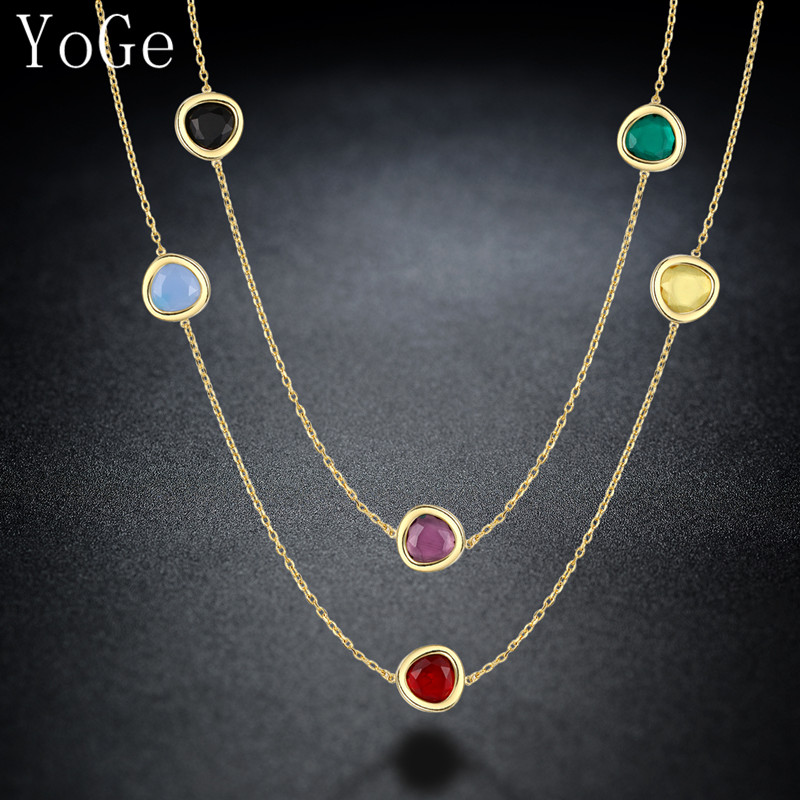 YoGe N1184  Luxury AAA cubic zirconia  big multicolour crystal stones necklace,women's fashion colourful sweater chain