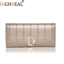 HIGHREAL New Fashion Women Wallets Female Cards Holders Split Leather Wallet Coin Purses Girl Long Wallet Lady Wallets J75