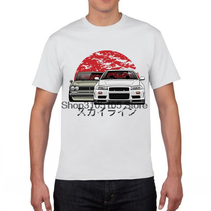 GILDAN designer t shirt Funky Nissan Skyline R34 Hakosuka Men's Round Collar Short Sleeve Car Tee Shirts New Youth T Shirts
