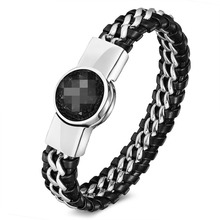 Men's Bracelets Black Leather Cord with Stainless Steel