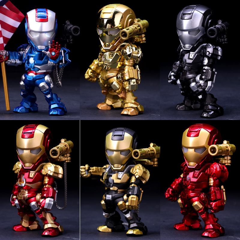 15CM PVC Q Version Voice Control Avengers Union Iron Man Iron Patriot Action Figure Car Furnishing Articles Model Holiday Gifts 6 piece 10 14cm super mario action figure evade glue fair young car furnishing articles model holiday gifts ornament box packed