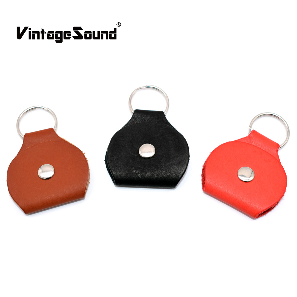Leather Metal Guitar Picks Holder Plectrum Case Bag Guitar Pick Cover Key Chain Ukulele Bass Musical Instruments Accessories zebra 26 ukulele uke gig bag cover padded soft case box with shoulder strap for musical instruments parts accessories