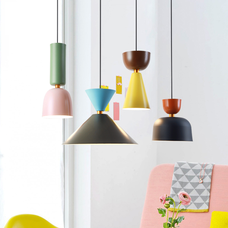 Nordic minimalist creative bar restaurant bedroom cafe color single head Macaron Bell LED chandeliers цена