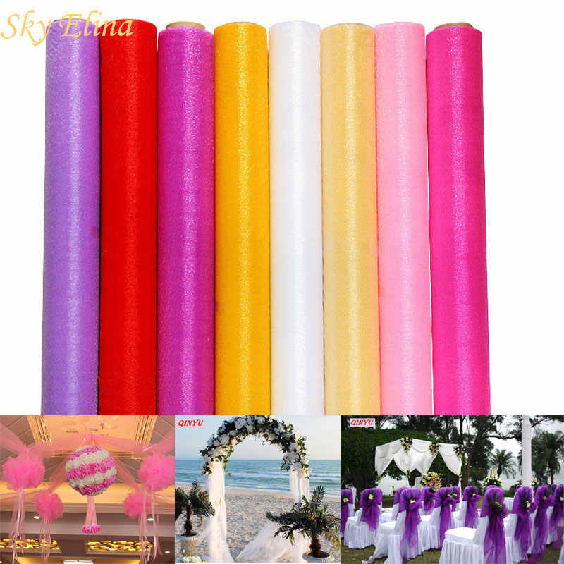 48cm * 5meters Tulle Roll Crystal Fabric Organza Tulle Roll Spool Wedding Decoration Party Birthday Kids Baby Shower 6ZSH015