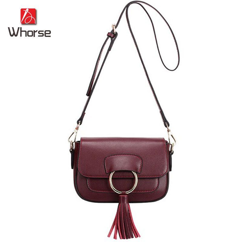 [WHORSE] Brand New Fashion Female Crossbody Shoulder Bag Tassel Women Messenger Bags Genuine Leather Tote Handbag Small WB70816 заготовки под роспись wooky style me up пурпурный кошелек