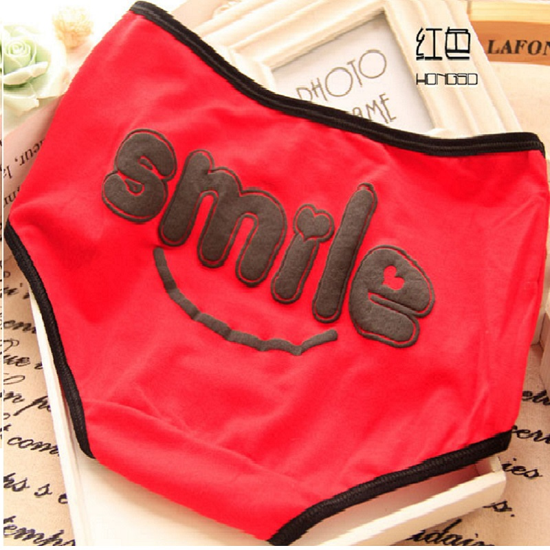New Fashion Sexy Women's Smile Printed Cotton Underwear Ladies Sexy   Panties   Underpant Cute Knickers Brief For Women and Girl XL