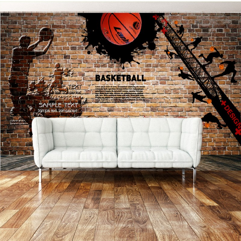 Custom photo wallpaper Custom 3D stereo Retro Nostalgic brick wall Basketball Background mural restaurant bar wallpaper custom photo wallpaper 3d retro wheel imitation brick wall wallpaper mural bar restaurant lounge hotel wallpaper