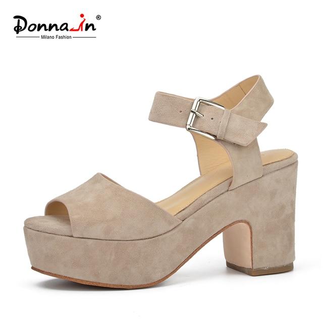Donna-в 2017, Новая мода лето открытым носком клинья Женские босоножки для высокой платформе обувь из натуральной кожи
