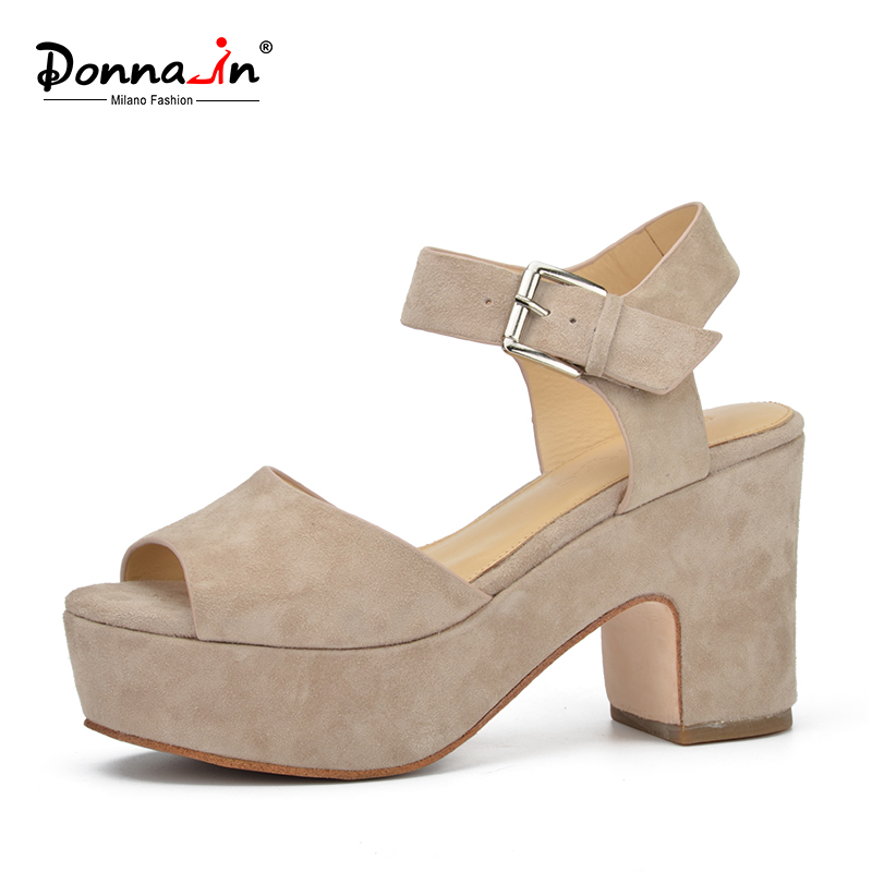 Donna in 2018 New Fashion Summer open toe wedges Women sandals for high platform genuine leather shoes