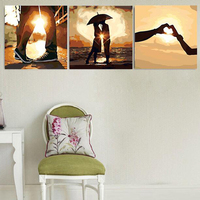 Home Decorative Painted DIY Oil On Canvas Cuadros Decoracion Painting By Numbers Three Picture LOVE Pictures
