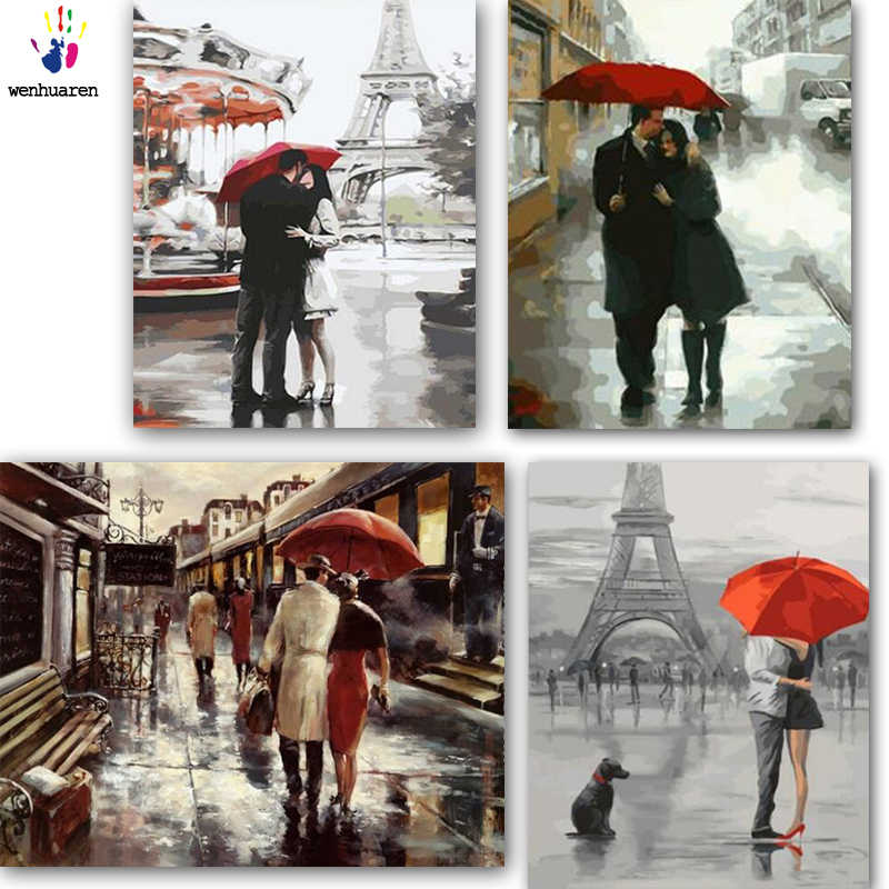 DIY colorings pictures by numbers with colors The sweetness of a rainy day picture drawing painting by numbers framed Home
