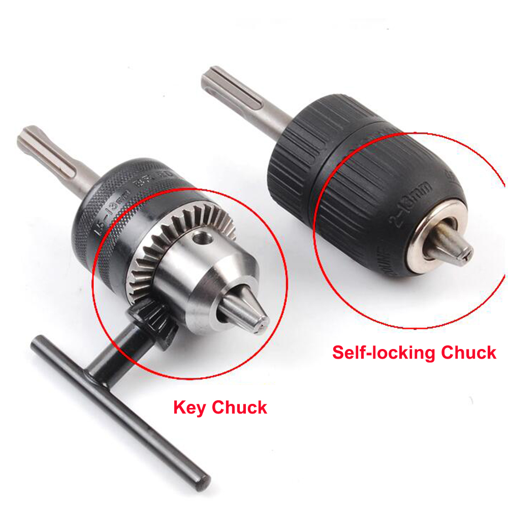 1PC Self-locking/Key Electric Hammer Conversion Drill Chuck With Round/Square Shank For Hand Drill