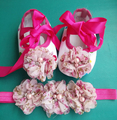 Baby girl Vintage Rhinestone/pearl Flower shoe,Ballerina Baby boots toddler girl shoes headband Set,girls baby squeaky shoes