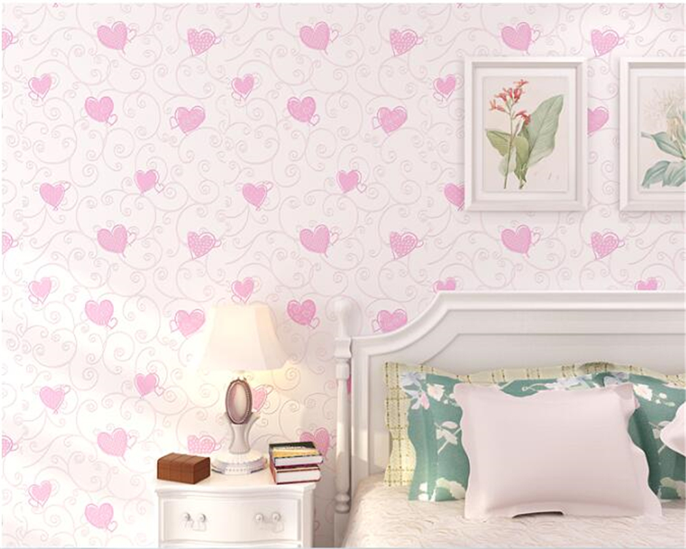 beibehang Warm heart-shaped childrens room 3d wallpaper boy girl bedroom heart background wall nonwoven wedding room wall paperbeibehang Warm heart-shaped childrens room 3d wallpaper boy girl bedroom heart background wall nonwoven wedding room wall paper
