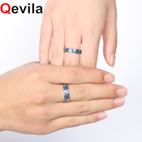 Qevila 2019 Fashion Personalized Rings Customized Van Gogh Enamel Ring 925 Sterling Silver Gold Moon Star Canvas Rings for women
