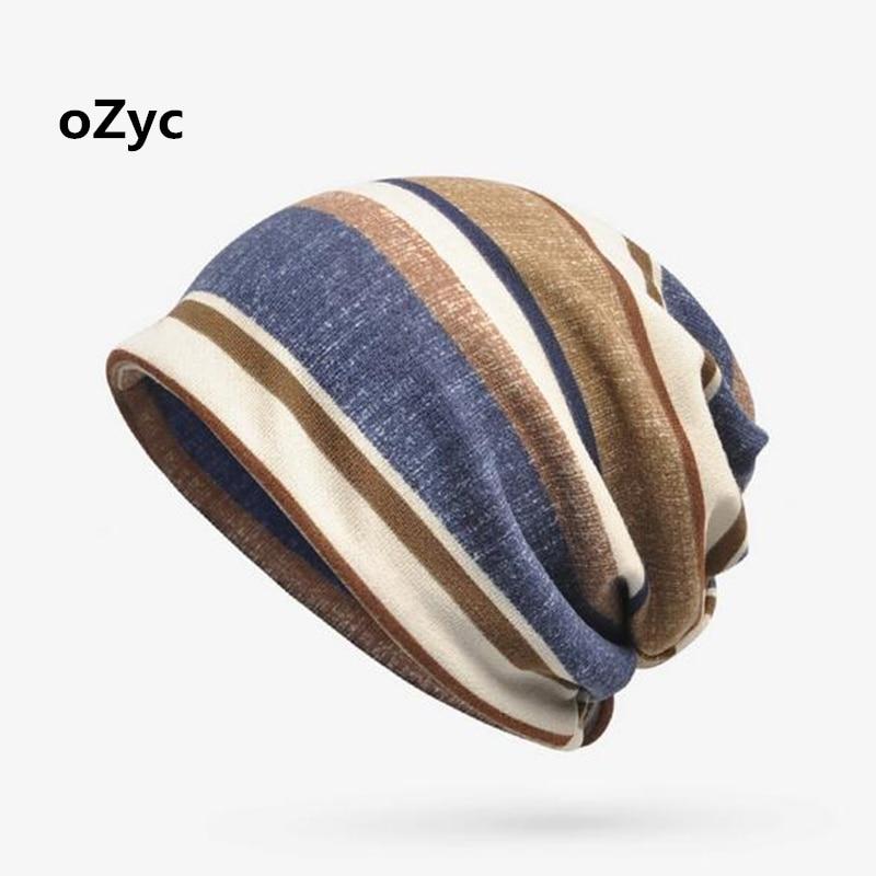 2017 New Double Layers Cotton Striped Hip Hop Skullies Winter Warm Hats Scarves Beanies Headgear Warm Hip Hop Skull Beanie Men skullies