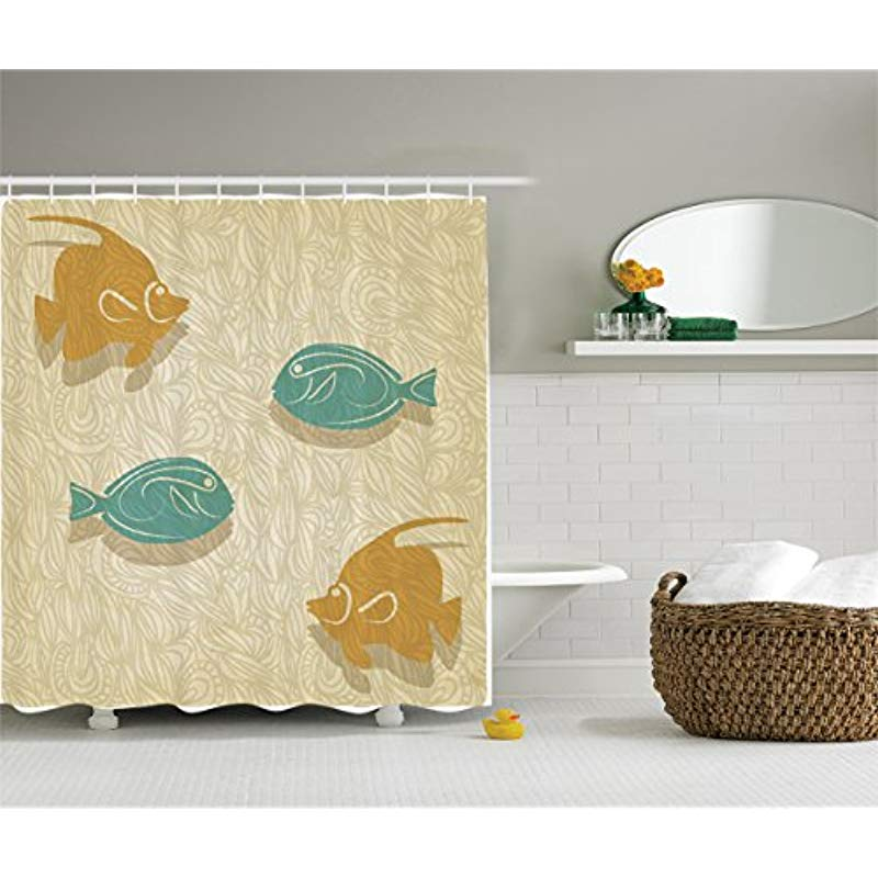 Fishing Themed Shower Curtains.Us 16 19 21 Off Fish And Waves Shower Curtain Set By Vixm Aquarium Marine Ocean Themed Fishing Decor Bathroom Accessories In Shower Curtains From