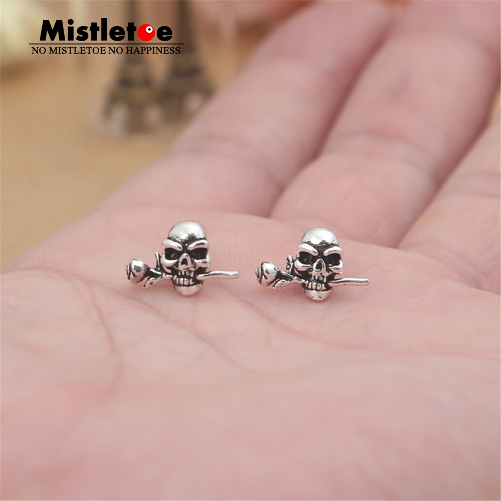 Authentic 925 Sterling Silver Vintage Punk Lucky Skull With Rose Stud Earrings For Women Or Men Jewelry