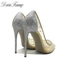 DorisFanny Crystal bling fashion design see through Silver Glitter Shoes  high heels pumps 12cm Party Wedding shoes dfb7b38c8053