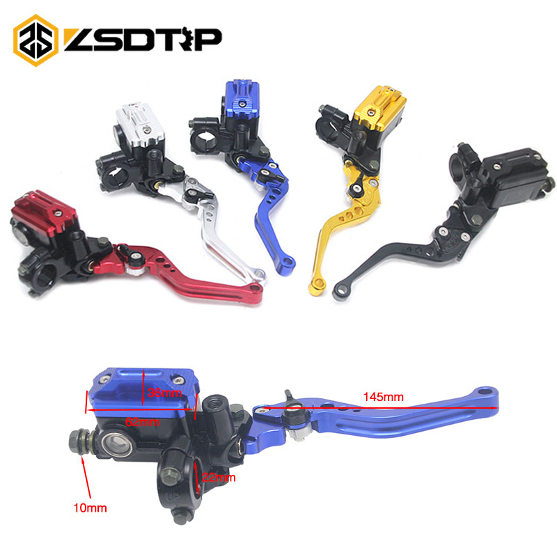 ZSDTRP Universal 22mm Motorcycle Brake Clutch Master Cylinder Reservoir Pump Levers Hydraulic Clutch Lever For most Motorcycle universal brake master cylinder levers 7 8 22mm motorcycle brake clutch master cylinder reservoir levers set black new