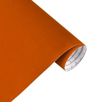 10/30*100cm Suede Vinyl Film Velvet Fabric Car Change Color Sticker Adhesive DIY Decoration Decal Auto Motorcycle Accessories - Orange, 10x100cm