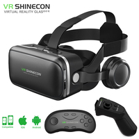 shinecon 6.0 VR virtual reality goggles 3D Glasses google cardboard VR headset box for 4.3 6.0 inch ios and Android smartphone