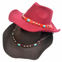 Fashion Autumn Winter Wool Fedora With Wide Brim For Women Men Dancing Hat Western Diamond Belt Cowboy Hat