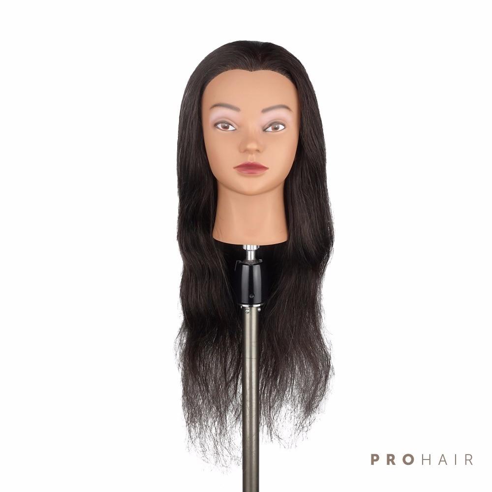 PROHAIR Hot Sale 24 100 Human hair Salon Female Mannequin Head Black Manikin for Training