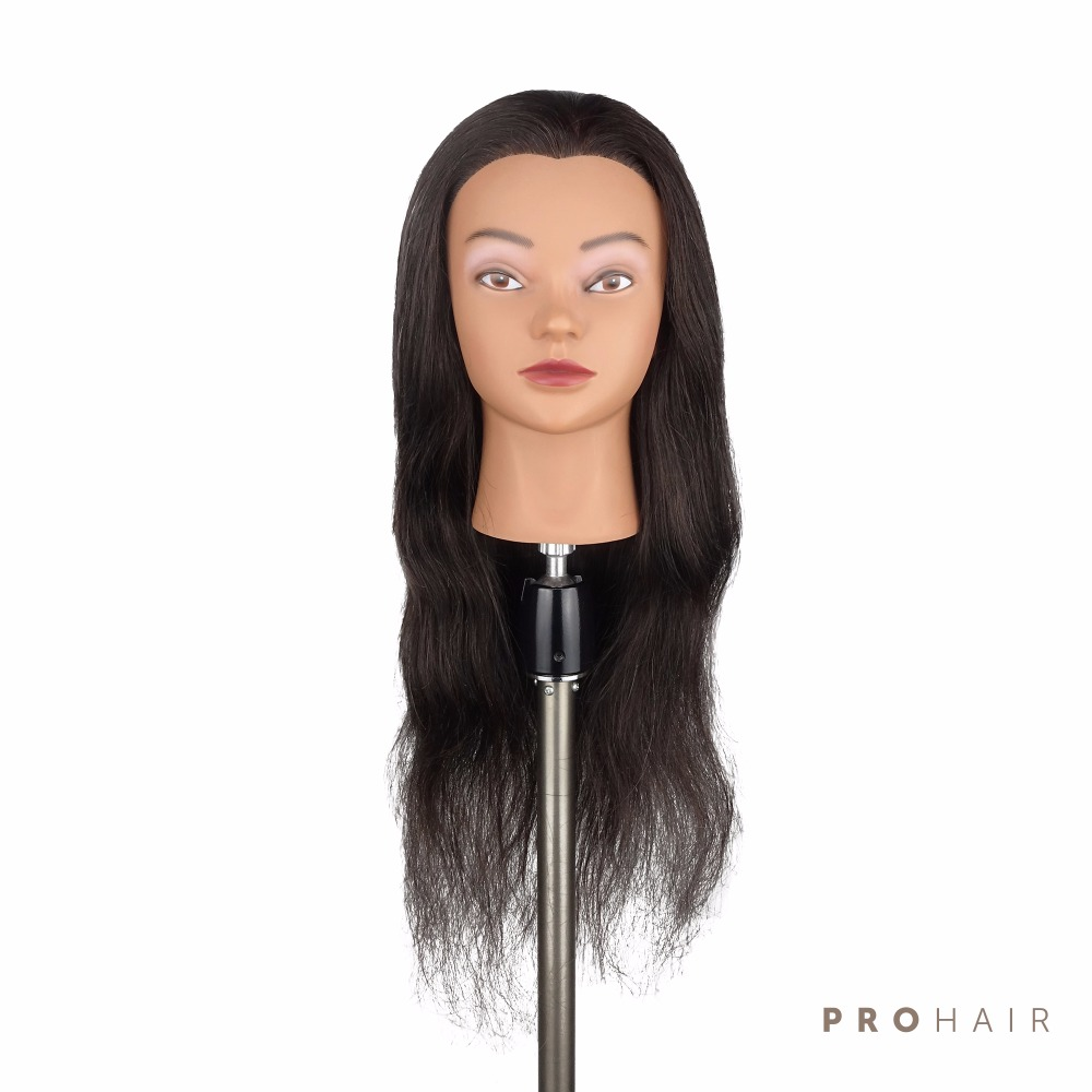"Prohair hot sale 24 ""100% 인간 헤어 살롱 여성 마네킹 헤드 블랙 manikin for training-에서마네킹부터 홈 & 가든 의  그룹 1"