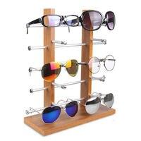 Double Row Wood Sunglass Display Shelf Show Case Racks Eye Glasses Sunglasses Show Stand