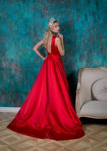 Image 4 - Dressvエレガントなロングブルゴーニュイブニングドレス 2017 極上サテンボート背中ビーズ刺繍ウエディングドレスフォーマル