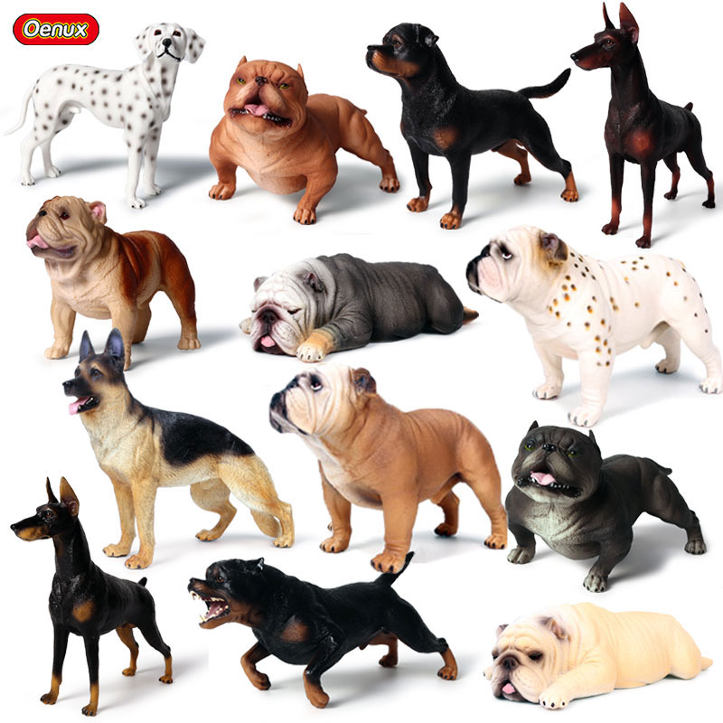 Oenux Classic Big Dog Animal Simulation Doberman Pinscher Rottweiler Dalmatian Bully dog Action Figures Pvc Cute Pet Model Toys