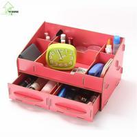 YIHONG DIY Cosmetic Jewelry Desktop Storage Box Pencil Wooden Stationery Storage Box Sundries Zakka Organize For