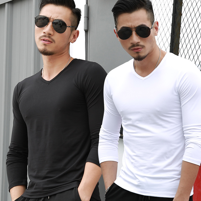 Clothing T-Shirt Long-Sleeve And Base V-Neck Casual White Advertising Autumn Winter Men's