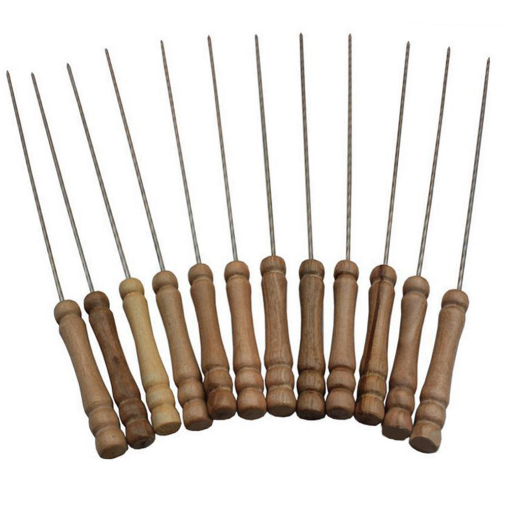12pieces/set Barbecue Stainless Steel Skewers Roasting Needle Wood Handle Freeshipping BBQ Tools