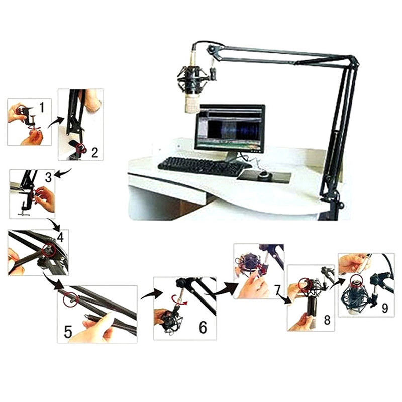 2021 New Mic Arm Stand Microphone Suspension Boom Scissor Holder For Studio Broadcast PN Drop Shipping Support 2