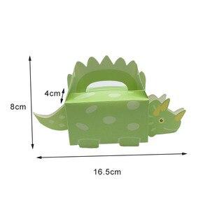 Image 3 - 10 adet dinozor parti mavi yeşil kurabiye kutusu bebek duş şeker kutusu tedavi çocuklar doğum günü kağıdı kutuları