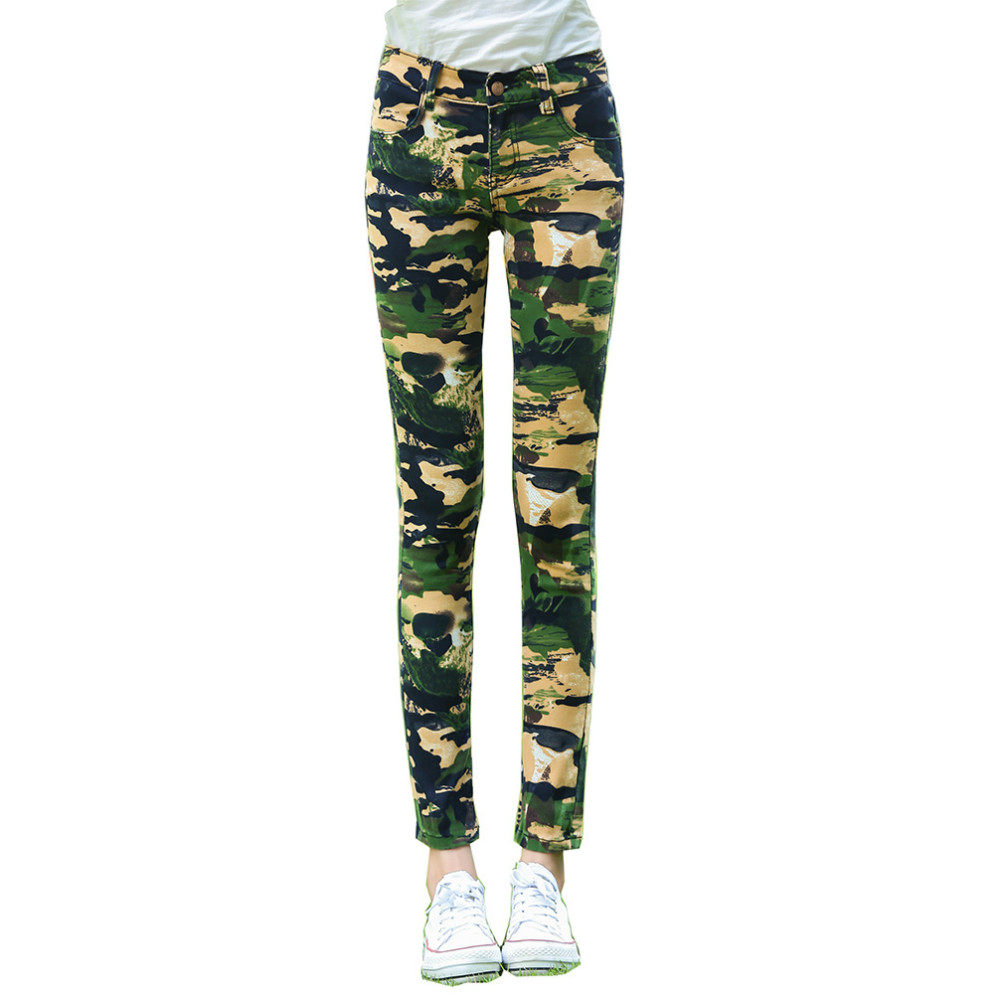 Tengo Fashion Brand Camo Jeans for Women Camouflage Slim Femme Pencil Pants