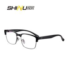 Shinu 브랜드 프로그레시브 다 초점 렌즈 독서 용 안경 하프 림 가까운 것 + 100 + 150 + 200 + 250 + 300 + 350 sh018