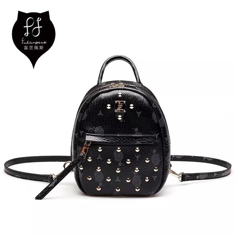Mini Backpacks For Teenagers 2018 Black Rivet Womens Backpack Bag Soft Leather Original Brand Beautiful Girl Backpacks To School рюкзаки zipit рюкзак shell backpacks