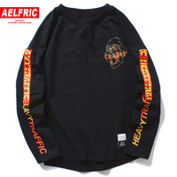 AELFRIC 2018 Harajuku Casual Long Sleeve 3d T shirts Skull Letter Print Mens T Shirt Autumn Winter Male Hip Hop Tee Shirt OF076